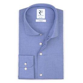 Iron-free mini pied de poule blue cotton shirt.