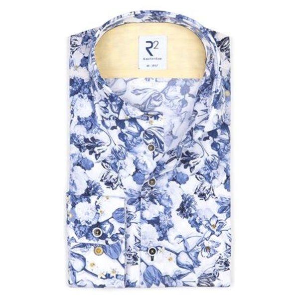 Print met blauwe bloemen uit het 'Sunflower' thema.