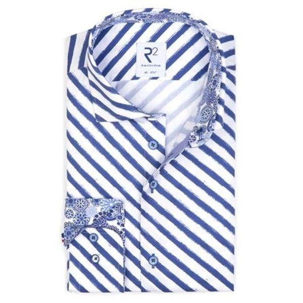 Print met blauwe strepen uit het 'Royal Blue' thema.