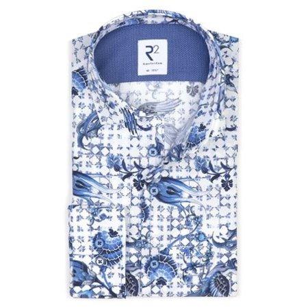White Dutch print cotton shirt.