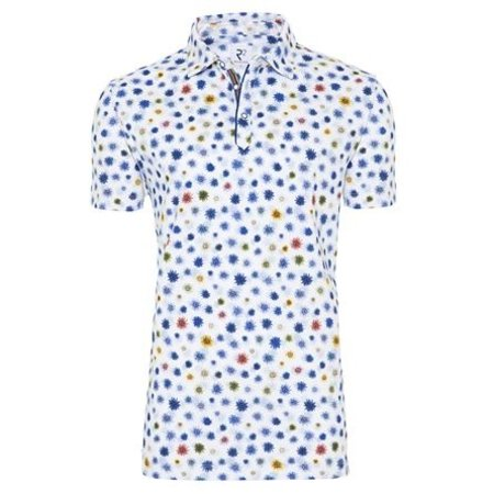 White flower print cotton polo shirt.