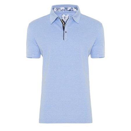 Light blue cotton polo shirt.