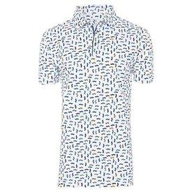 White car print polo shirt.