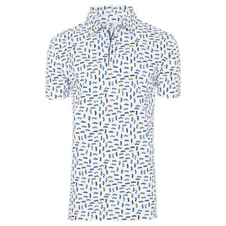 White car print cotton polo shirt.