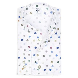 Meerkleurig stippenprint katoenen overhemd.