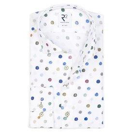 Multicolored dot print cotton shirt.