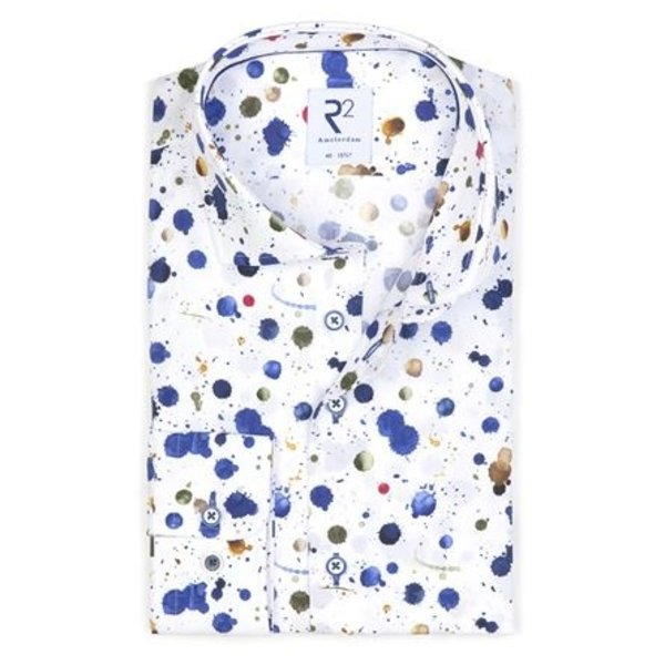 Print with splatters from the 'Royal Blue' theme.