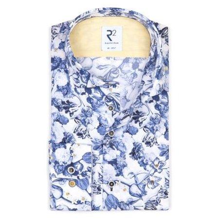 White flower print cotton shirt SL7.