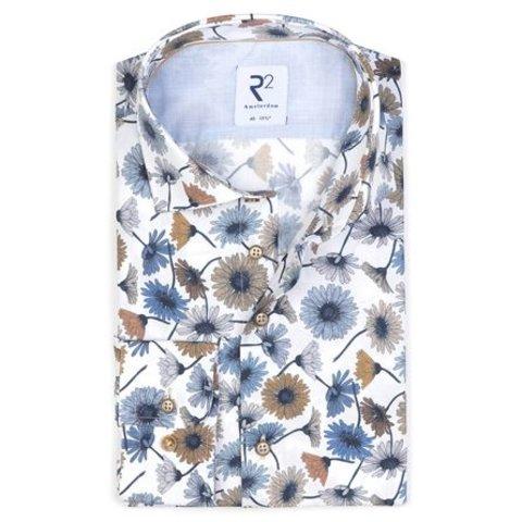 Extra Lange Mouwen. Wit bloemenprint katoenen overhemd.