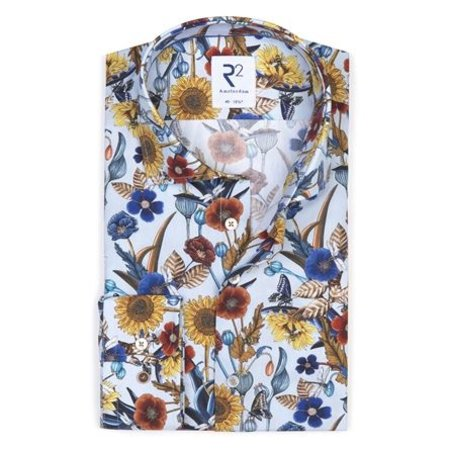 Light blue flower print cotton shirt SL7.
