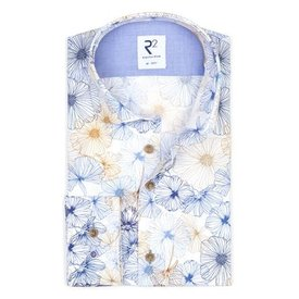 Extra Long Sleeves. Multicolored flower print cotton shirt.