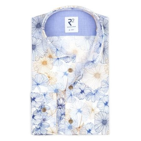 Multicolored flower print cotton shirt SL7.
