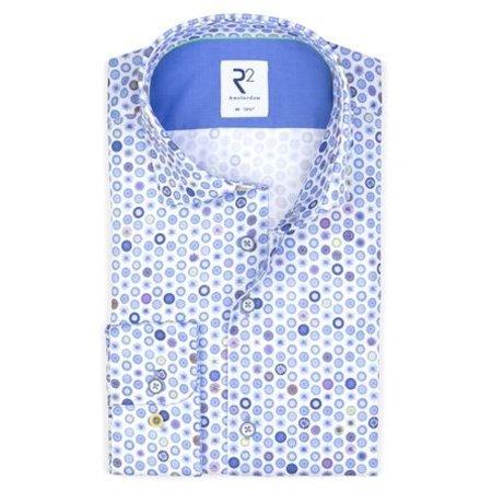 White rounds print cotton shirt.