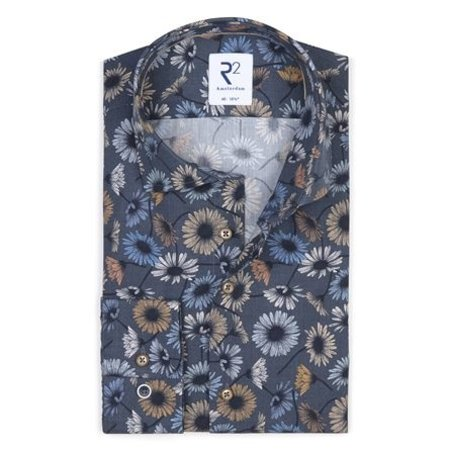 Donkerblauw bloemenprint katoenen overhemd.