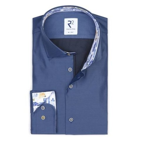 Dark blue plain cotton shirt.