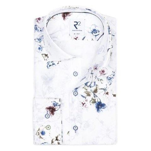 White flower print cotton shirt.