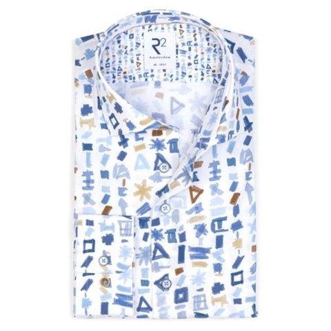 Extra Lange Mouwen. Wit grafische print katoenen overhemd.