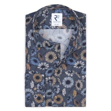 Dark blue flower print cotton shirt SL7.