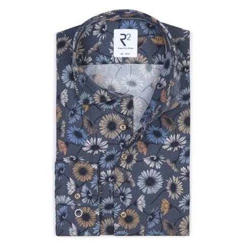 Extra Lange Mouwen. Donkerblauw bloemenprint katoenen overhemd.
