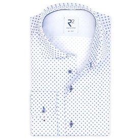 White round print cotton shirt SL7.