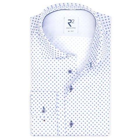 Extra Lange Mouwen. Wit stippen print katoenen overhemd.