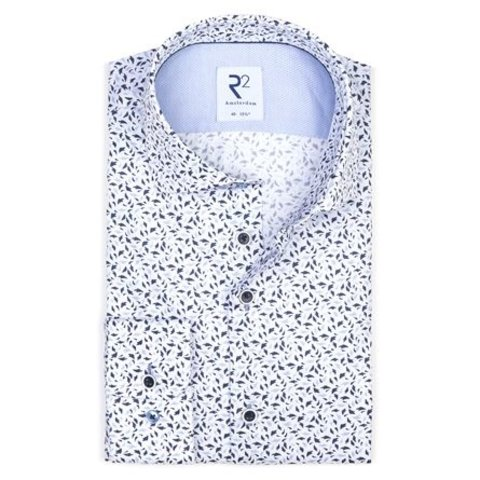 White graphic print cotton shirt SL7.