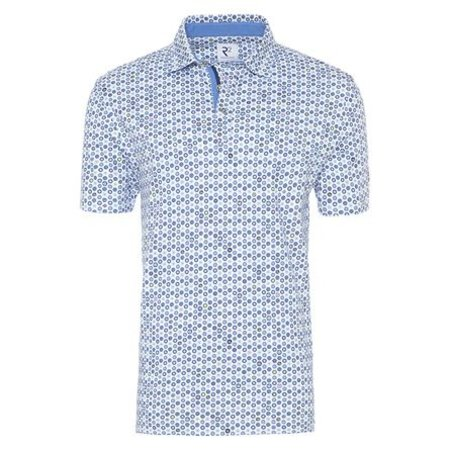 Light blue circles print cotton polo.