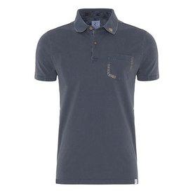 Dark blue plain polo.