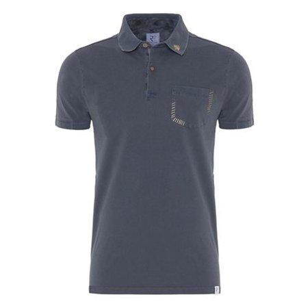 Dark blue plain cotton polo.