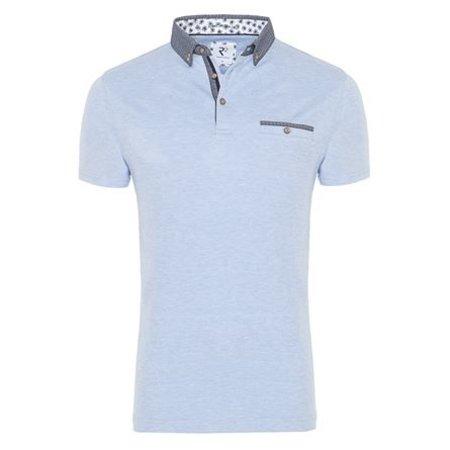 Light blue plain cotton polo.
