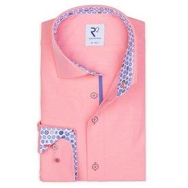 Neon roze effen katoenen overhemd.