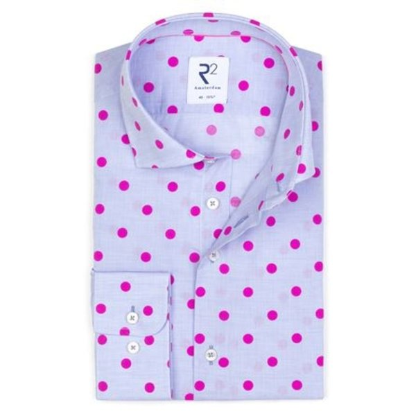 With neon pink dot print.