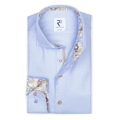 Lichtblauw Pied-de-poule  katoenen overhemd.