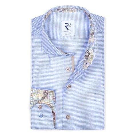 Light blue cotton shirt pied-de-poule.