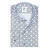 White cotton shirt printed with blue circles.
