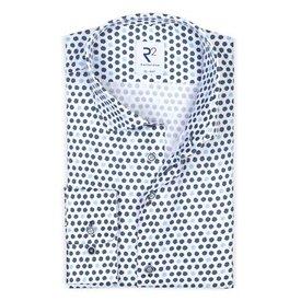 Wit met blauwe rondjes print katoenen overhemd.