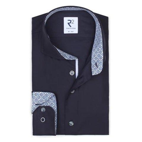Navy blue plain cotton shirt.