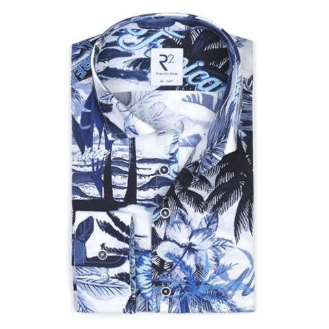 White cotton shirt with blue tropical print.