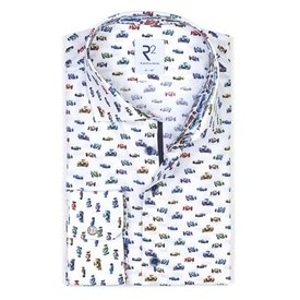 White cotton shirt with multicoloured cotton shirt with racing car print.
