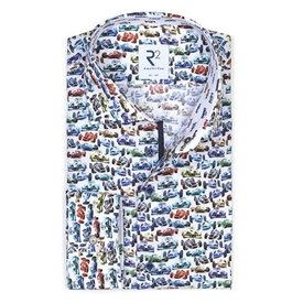 Wit met meerkleurige race auto print katoenen overhemd.