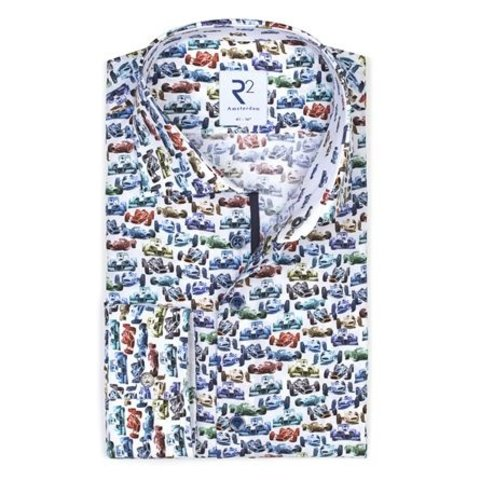 White with multicoloured cotton shirt with racing car print.