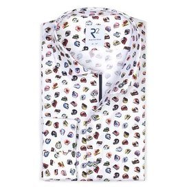 White cotton shirt with multicoloured racing helmet print.