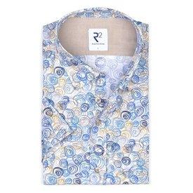 Korte mouwen wit grafische print katoenen overhemd.