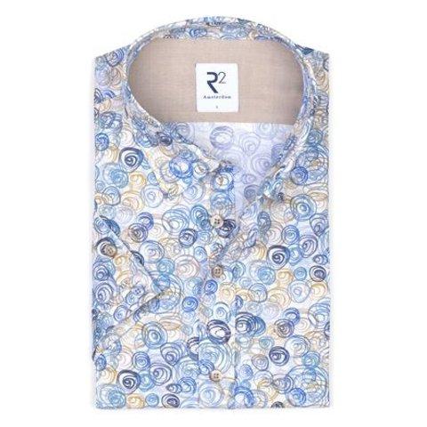 Short sleeve white graphic print cotton shirt.