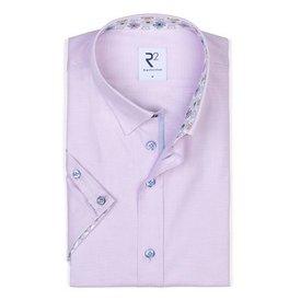 Short sleeve pink oxford cotton shirt.