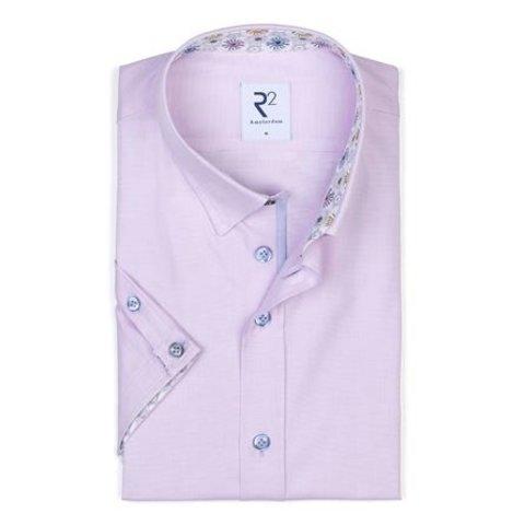 Korte mouwen roze oxford katoenen overhemd.