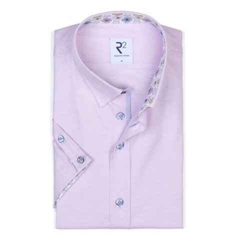 Short sleeve pink oxford cotton shirt.