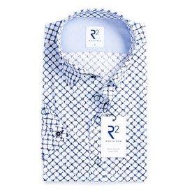 Korte mouwen wit cirkel print katoenen overhemd.