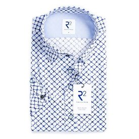 Short sleeve white circle print cotton shirt.