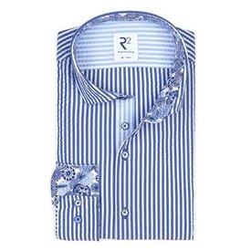 White blue striped cotton seersucker shirt.